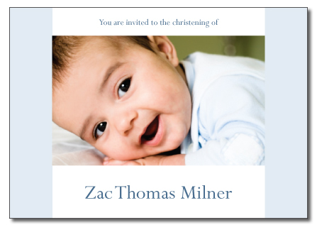 Zac light blue folded invitation